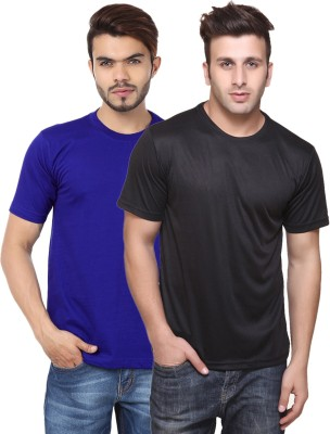 Funky Guys Solid Men's Round Neck Multicolor T-Shirt(Pack of 2) at flipkart
