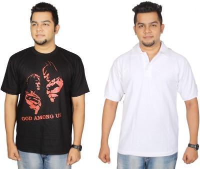 Leo Clothing Printed Men's Round Neck Reversible Black, White T-Shirt(Pack of 2)