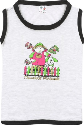 SR Kids Girls Printed T Shirt(Grey)  available at flipkart for Rs.98