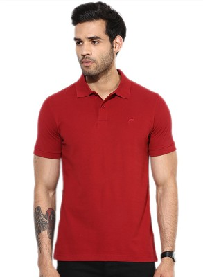Go India Store Solid Men's Polo Neck Maroon T-Shirt
