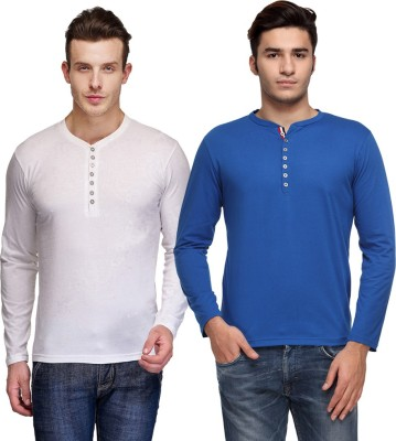 TSX Solid Men's Henley White, Blue T-Shirt(Pack of 2) at flipkart