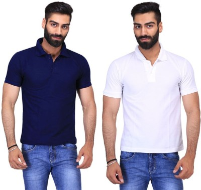Fuego Solid Men's Polo Neck Dark Blue, White T-Shirt(Pack of 2)