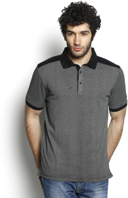 Blackberrys Self Design Men Polo Neck Black T-Shirt