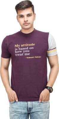 Yuvi Printed Men's Round Neck Purple T-Shirt
