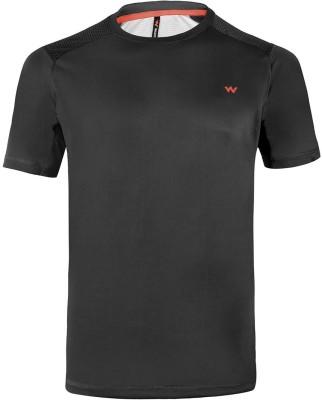 Wildcraft Solid Men Round Neck Black T-Shirt at flipkart