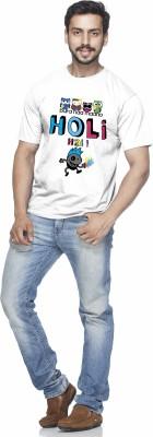 Demokrazy Solid Men's Round Neck White T-Shirt