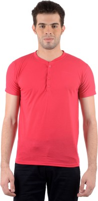 Gdivine Solid Men's Henley Red T-Shirt