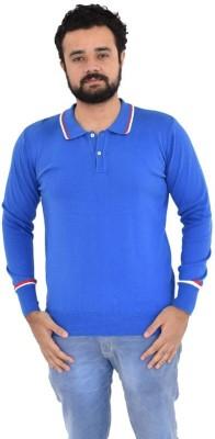 ec8d844665 Oldberri Solid Men's Polo Neck Blue T-Shirt
