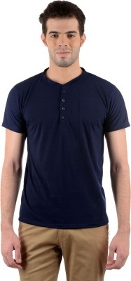 Gdivine Solid Men's Henley Dark Blue T-Shirt