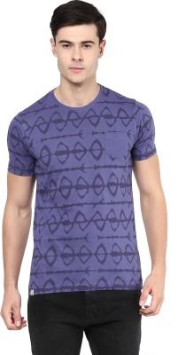 Elaborado Printed Men's Round Neck Reversible Purple T-Shirt
