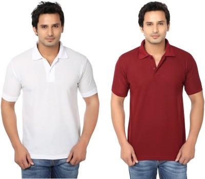 Keepsake Solid Men's Polo Neck White, Maroon T-Shirt(Pack of 2)