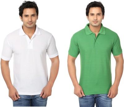 Keepsake Solid Men's Polo Neck White, Green T-Shirt(Pack of 2)