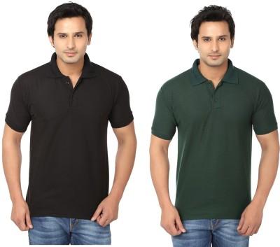 Keepsake Solid Men's Polo Neck Black, Dark Green T-Shirt(Pack of 2)