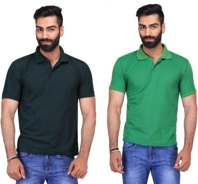 Fuego Solid Men's Polo Neck Dark Green, Light Green T-Shirt(Pack of 2)