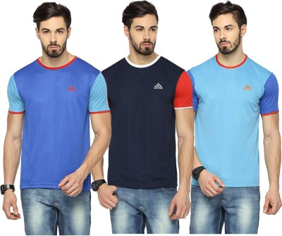 Canyons Solid Men Round or Crew Blue, Dark Blue, Light Blue T-Shirt(Pack of 3) at flipkart