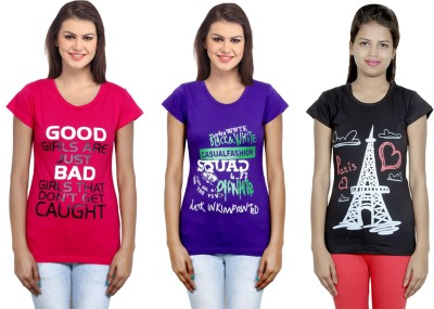IndiStar Printed Women Round Neck Pink, Purple, Black T Shirt Pack of 3
