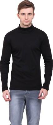 Le Bourgeois Solid Men Polo Neck Black T-Shirt