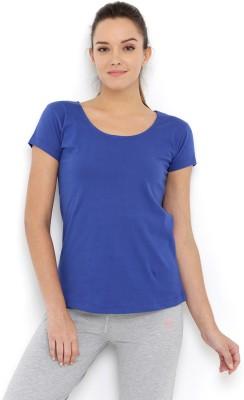 Tuna London Solid Women Round Neck Blue T Shirt Tuna London Women's T shirts