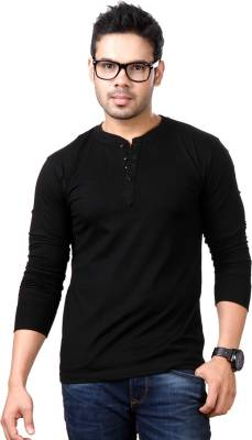 Top Notch Solid Men's Henley Black T-Shirt