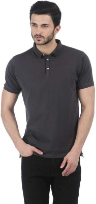 Basics Solid Men Polo Neck Grey T-Shirt at flipkart