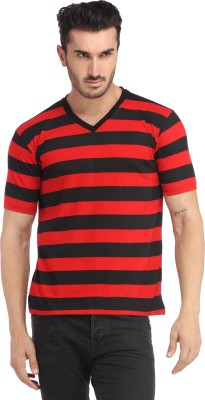 Leana Solid Men's V-neck Red, Black T-Shirt at flipkart