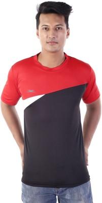Zagros Solid Men's Round Neck Black, Red T-Shirt