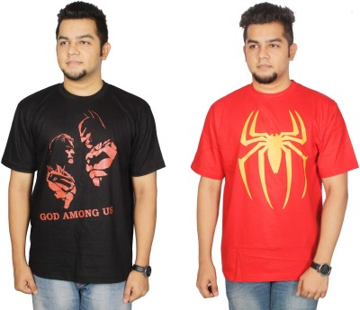 Leo Clothing Printed Men's Round Neck Reversible Black, Red T-Shirt(Pack of 2)