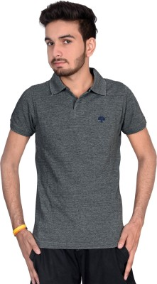Magnus Solid Men's Polo Neck Grey T-Shirt
