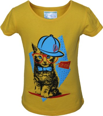 Cool Quotient Graphic Print Baby Girl's Round Neck Yellow T-Shirt