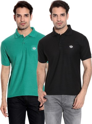 French Circle Solid Men's Polo Neck Black, Green T-Shirt(Pack of 2)