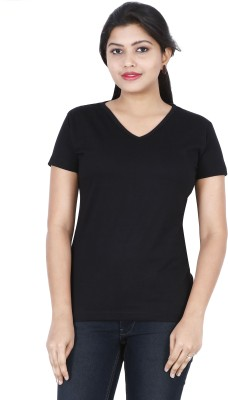 FLEXIMAA Solid Women V-neck Black T-Shirt