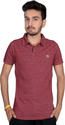 Magnus Solid Men's Polo Neck Maroon T-Shirt