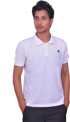 Leaf Solid Men's Polo Neck White, Blue T-Shirt