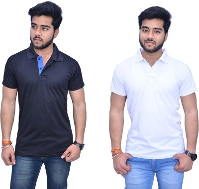 Himgiri Solid Men's Polo Neck White, Black, Blue T-Shirt(Pack of 2) at flipkart