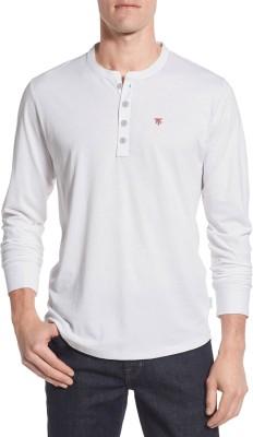 Moody's Kitchen Solid Men's Henley White T-Shirt