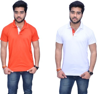 Himgiri Solid Men's Polo Neck Orange, White, White, Orange T-Shirt(Pack of 2) at flipkart