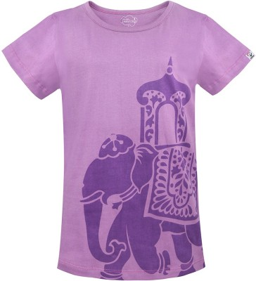 Imagica Girls Printed T Shirt(Purple)  available at flipkart for Rs.298
