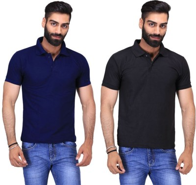 Fuego Solid Men's Polo Neck Black, Dark Blue T-Shirt(Pack of 2)