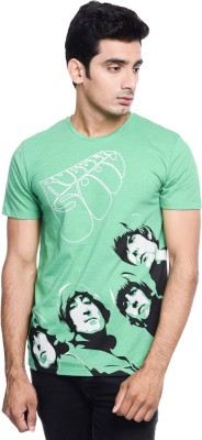 THE BEATLES By Free Authority Printed Men Round Neck Green T-Shirt