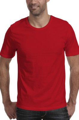 Moody's Kitchen Solid Men's Round Neck Red T-Shirt