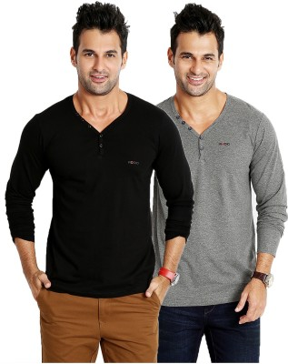 Rodid Solid Men's V-neck Black, Grey T-Shirt(Pack of 2) at flipkart
