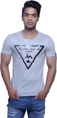 Masculino Latino Printed Men's Round Neck Reversible Grey T-Shirt