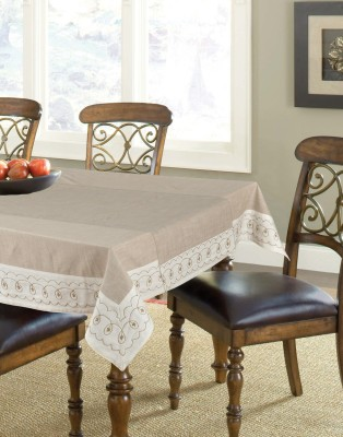 Elan Embroidered 4 Seater Table Cover(Beige, Cotton) at flipkart