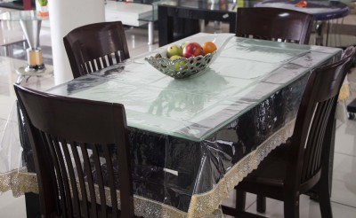 New Fabric Art Solid 8 Seater Table Cover(Tranparent, Plastic) at flipkart