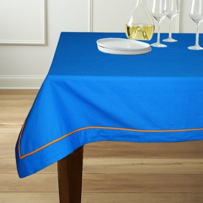 Lushomes Solid 6 Seater Table Cover(Blue, Cotton) at flipkart