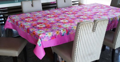 Lushomes Floral 6 Seater Table Cover(Pink, Polyester) at flipkart