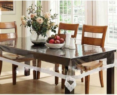Delfi Abstract 6 Seater Table Cover(White, PVC) at flipkart
