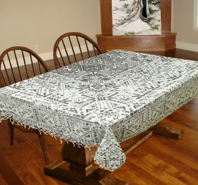 Miyanbazaz Abstract 6 Seater Table Cover(White, Cotton) at flipkart