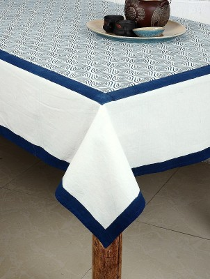 Myyra Geometric 6 Seater Table Cover Blue White, Cotton Myyra Table Covers