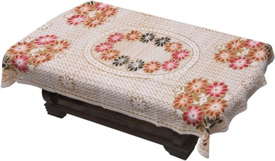 Yellow Weaves Floral 4 Seater Table Cover(Beige, Polyester) at flipkart